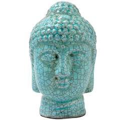 Blue Crackle-Finish Buddha Head - Original Source