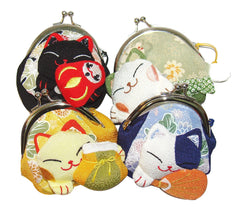 Maneki Neko Lucky Cat Purse - Purple