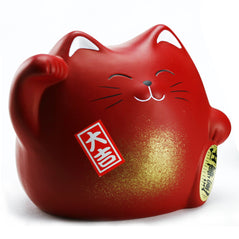 Ceramic Cat Bank - Red