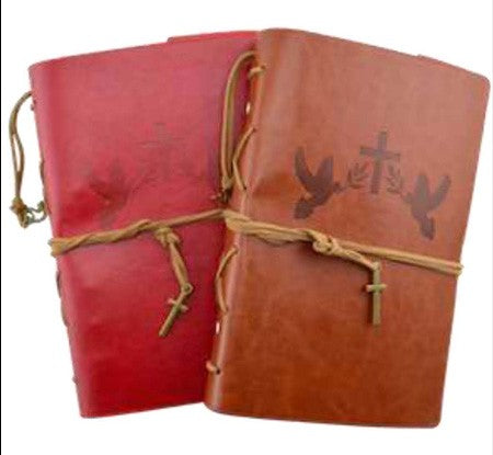 Leather Journal - Faith - Red