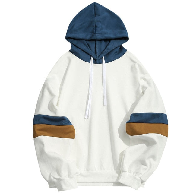 White and Navy Blue Unisex Hoodie Patchwork