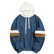 Load image into Gallery viewer, White and Navy Blue Unisex Hoodie Patchwork