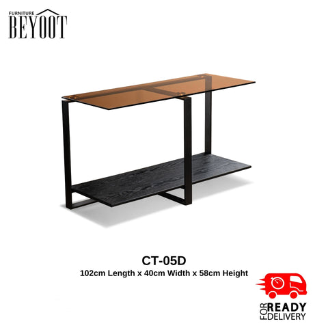 BYT-CT-05D Center Table - GLASS/LIGHT GRAY
