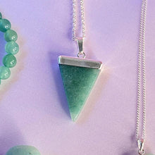Load image into Gallery viewer, Aventurine Crystal Pendant with Electroplated Sterling Silver , Necklace - positive metal attitude ltd