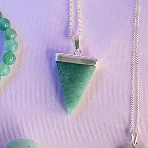 Aventurine Crystal Pendant with Electroplated Sterling Silver , Necklace - positive metal attitude ltd
