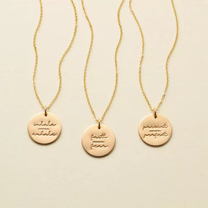Gold Positive Mantra Necklace , Necklace - positive metal attitude ltd