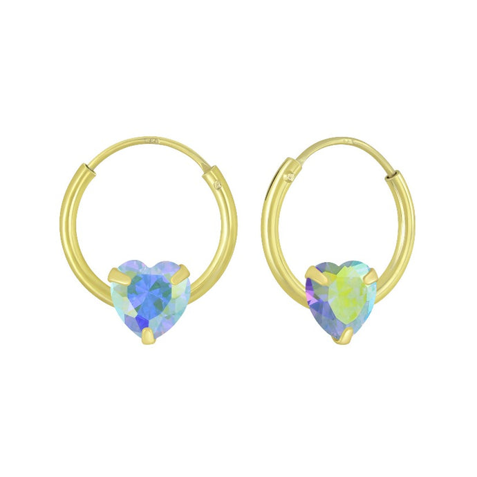 12mm Mini Hoop Piercing in Gold Plated Sterling Silver with Holographic Heart Charm , Earrings - positive metal attitude ltd