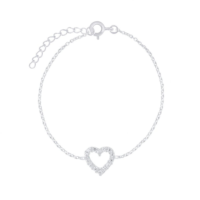 Crystal Heart Bracelet in Sterling Silver , Bracelet - positive metal attitude ltd
