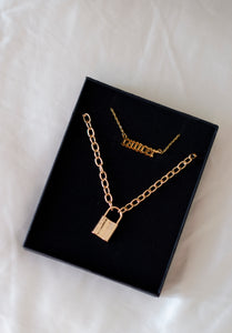 Knox Chunky Padlock Necklace in Gold , Necklace - positive metal attitude ltd