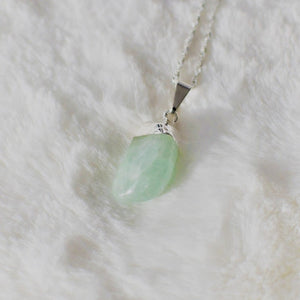 Green Aventurine Crystal Stone Pendant Necklace with Silver Plating , Necklace - positive metal attitude ltd