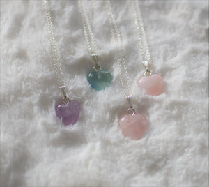 Fluorite Heart on Sterling Silver Necklace , Necklace - positive metal attitude ltd