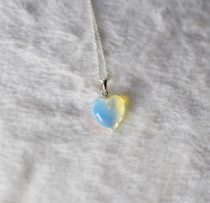 Opalite Reflective Heart on Sterling Silver Necklace , Necklace - positive metal attitude ltd