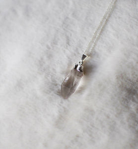 Raw Quartz Electroplated Crystal Pendant , Necklace - positive metal attitude ltd