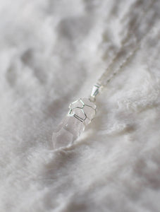 Raw Quartz Wire Wrapped Crystal Pendant , Necklace - positive metal attitude ltd