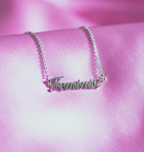 """Feminist"" Girl Power Necklace in Silver , Necklace - positive metal attitude ltd"