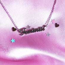 "Load image into Gallery viewer, ""Feminist"" Girl Power Necklace in Silver , Necklace - positive metal attitude ltd"