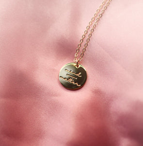 mind over matter gold mantra necklace