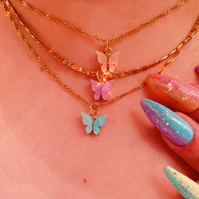 Mariposa Butterfly Charm Necklace +6 colours! , Necklace - positive metal attitude ltd