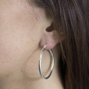 Chunky Silver Circle Tube Hoop Earrings , Earrings - positive metal attitude ltd
