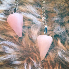 Load image into Gallery viewer, Rose Quartz Pendulum Necklace ,  - positive metal attitude ltd