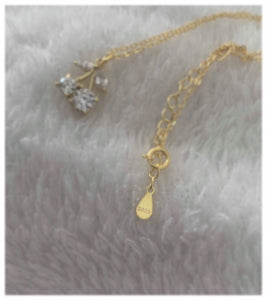 The Crystal Cherry Necklace, Dainty Necklace, Cherry Charm, High Quality Jewellery, Cubic Zirconia, Gold-Plated, 925 Silver, Gifts for her ,  - positive metal attitude ltd