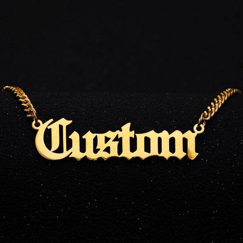 Custom Name Necklace with Chunky Curb Chain , Custom Necklace - positive metal attitude ltd