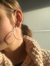 Load image into Gallery viewer, Large Silver Heart Hoops , Earrings - positive metal attitude ltd