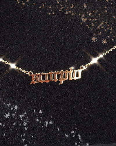 Astro Babe Zodiac Sign Old English 14k Gold Necklace , Necklace - positive metal attitude ltd