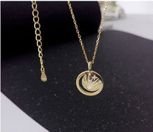 Load image into Gallery viewer, Moon & Stars Celestial 14k Gold Necklace , Necklace - positive metal attitude ltd