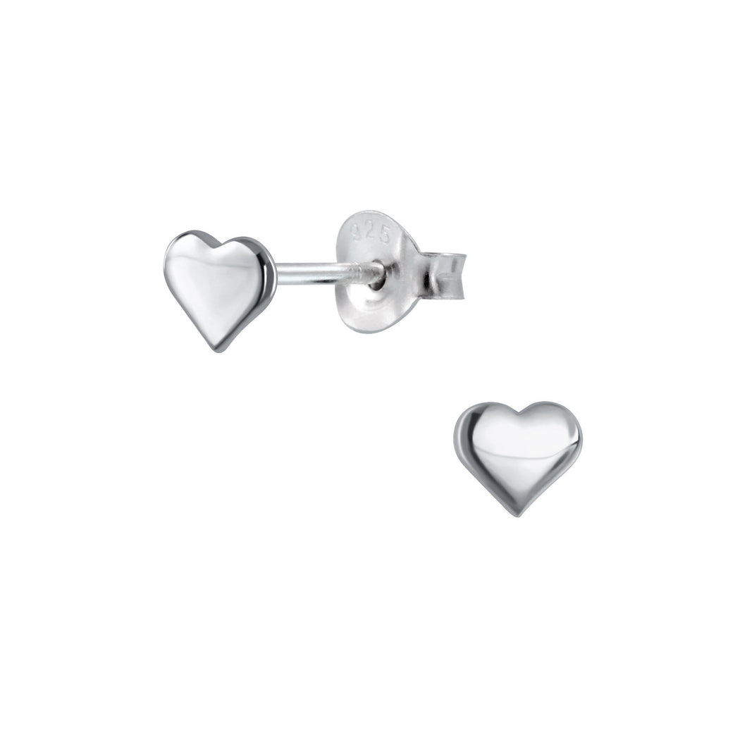 Tiny Silver Mini Heart Stud Earrings , Earrings - positive metal attitude ltd