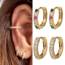 Load image into Gallery viewer, Gold Plated Huggie Hoops with Cubic Zirconia , Earrings - positive metal attitude ltd