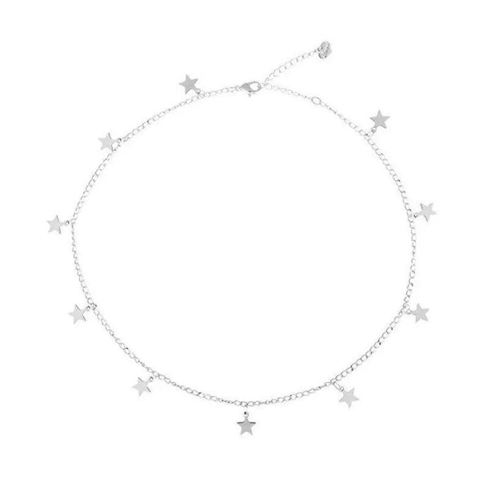 Silver Star Charm Choker Necklace , Necklace - positive metal attitude ltd