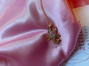18k Gold Crystal Scorpion Necklace , Necklace - positive metal attitude ltd
