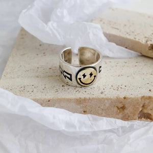 Sterling Silver Ring, Smiley Face Emoji, Cute Fashion Jewellery, Gift for Her, Indie Grunge Stacking Rings, Positivity Happy Face, Good Vibe ,  - positive metal attitude ltd