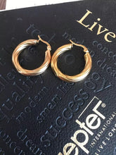 Load image into Gallery viewer, 18k Gold Chunky Twist Hoops , Earrings - positive metal attitude ltd