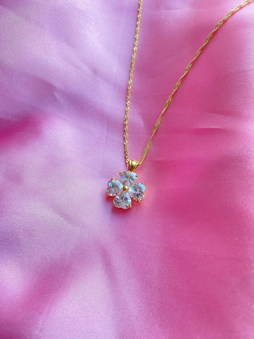 Lucky Crystal Clover Necklace, Four Leaf Clover Pendant, Good Luck Jewellery, 18k Gold Plated Crystal Jewelry, Gift for Her, ,  - positive metal attitude ltd