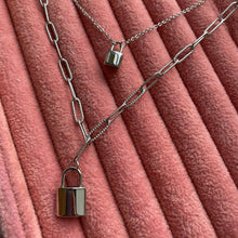 Load image into Gallery viewer, Silver Padlock Double Layered Necklace, Chunky Padlock Chain Necklace, Stainless Steel Jewellery, Fashion Jewellery, Gift For Her ,  - positive metal attitude ltd