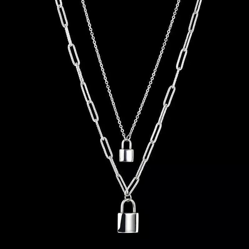 Silver Padlock Double Layered Necklace, Chunky Padlock Chain Necklace, Stainless Steel Jewellery, Fashion Jewellery, Gift For Her ,  - positive metal attitude ltd