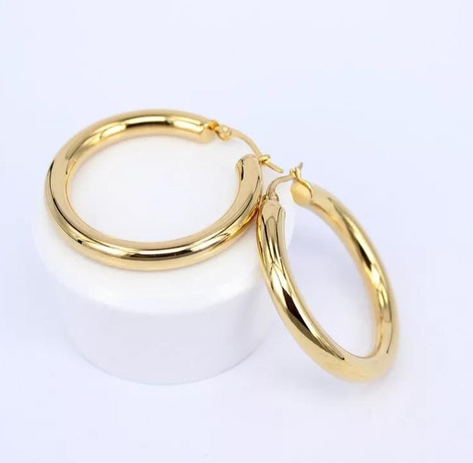 Chunky Gold Circle Tube Hoop Earrings , Earrings - positive metal attitude ltd