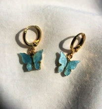 Load image into Gallery viewer, Mariposa Butterfly Charm Huggie Hoops , Earrings - positive metal attitude ltd
