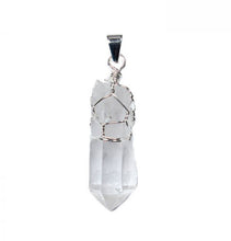 Load image into Gallery viewer, Raw Quartz Wire Wrapped Crystal Pendant , Necklace - positive metal attitude ltd
