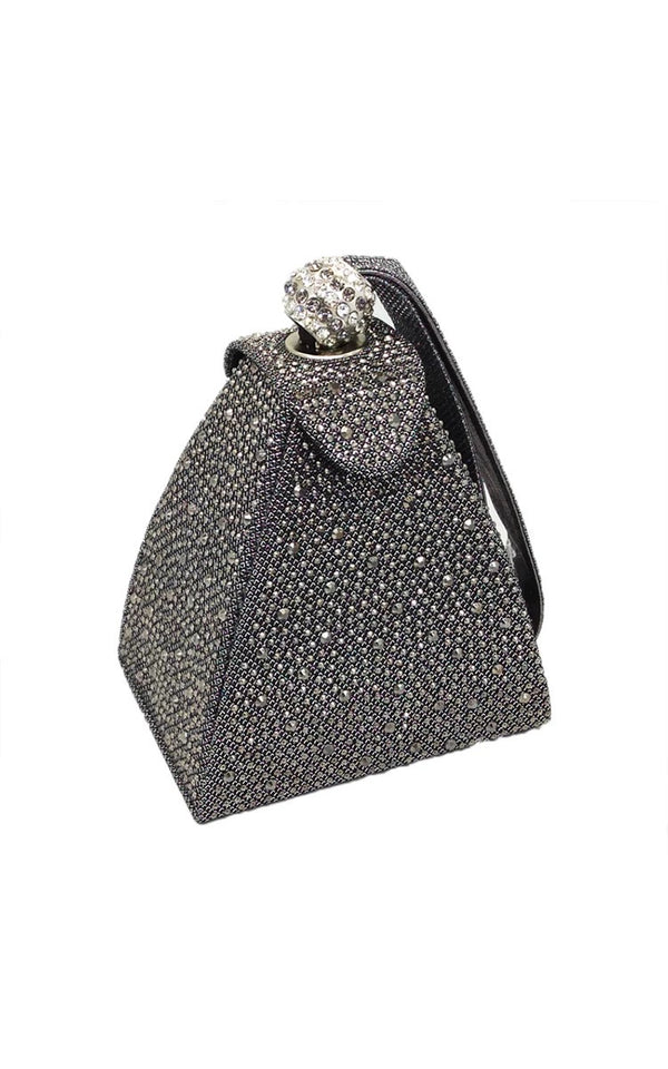 Vintage Diamond Pyramid clutch - gray
