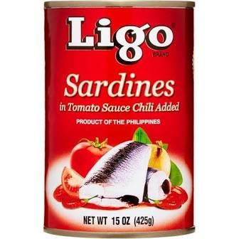 Ligo Sardines in Tomato Sauce Chili Added (BIG) Red (15oz)