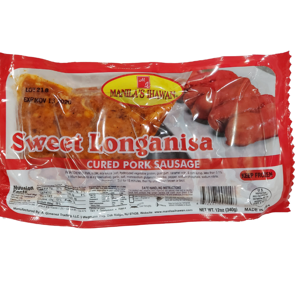 Manila's Ihawan Sweet Cured PORK Longanisa 340g