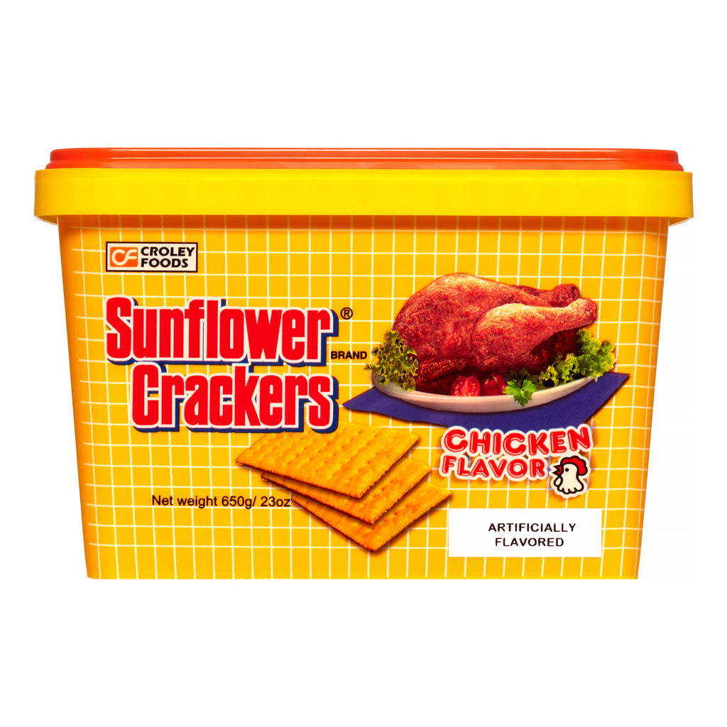 Croley Foods Sunflower Crackers CHICKEN Flavor TUB 650g (23oz)