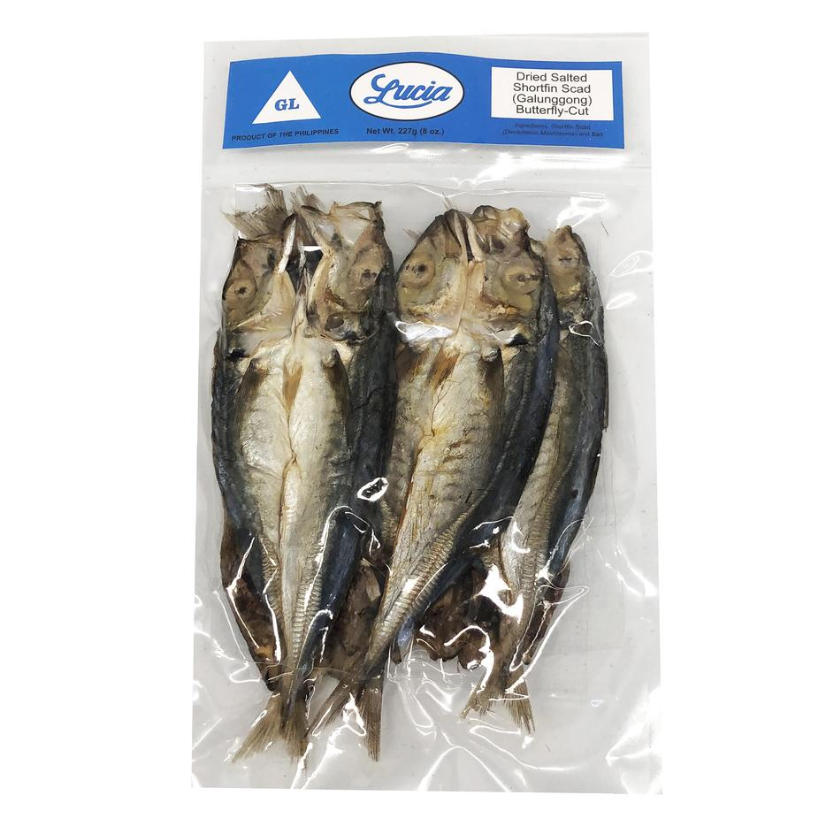Lucia Frozen Dried Salted Shortfin Scad( Galungong) Buttetfly Cut 227g