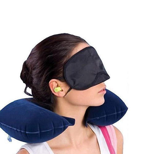 Mercebull 3-in-1 Air Travel Kit with Pillow, Ear Buds & Eye Mask - Mercebull Fitness & Sports