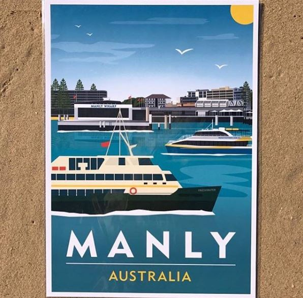 Large Travel Print Manly Ferrys