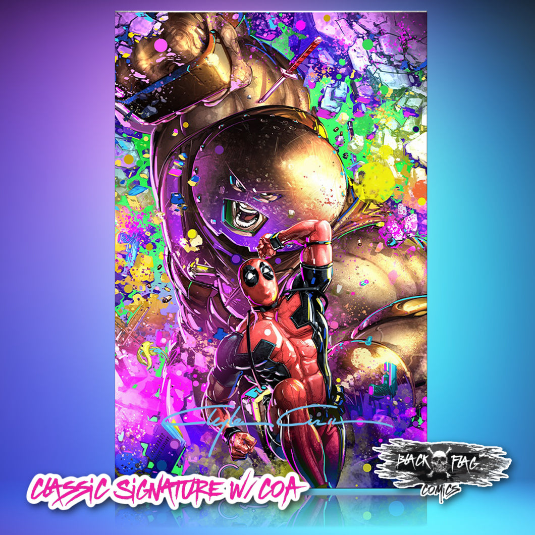 IC Classic Raw Signed w/COA Deadpool Dirty Thirty Black Light Clayton Crain