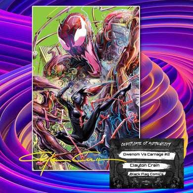 Third Eye Black Light Homage  Gwenom vs Carnage #2 Clayton Crain Classic Signed w/COA